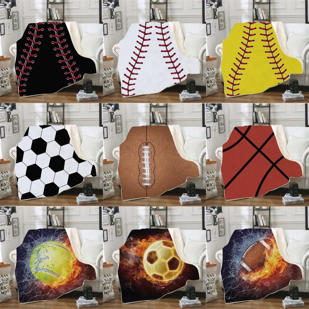 Beisebol Sherpa Cobertor 150 * 130 cm Futebol Bola de Futebol 3D Digital Impresso Crianças Inverno Xale de Pelúcia Sofá sofá jogar Envoltório de Lã LJJA3028