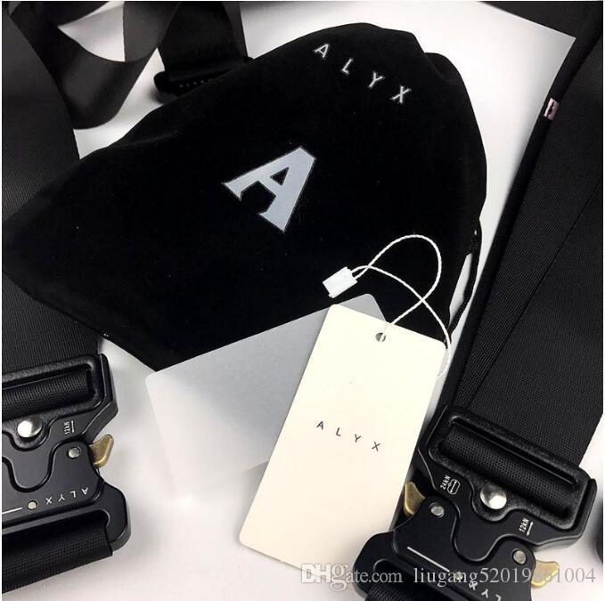 2020 Nueva ALYX cinturón de seguridad Cinturón Hombres rodillo Botón Negro metal lienzo ALYX usable Hip Pop Hombres del cinturón