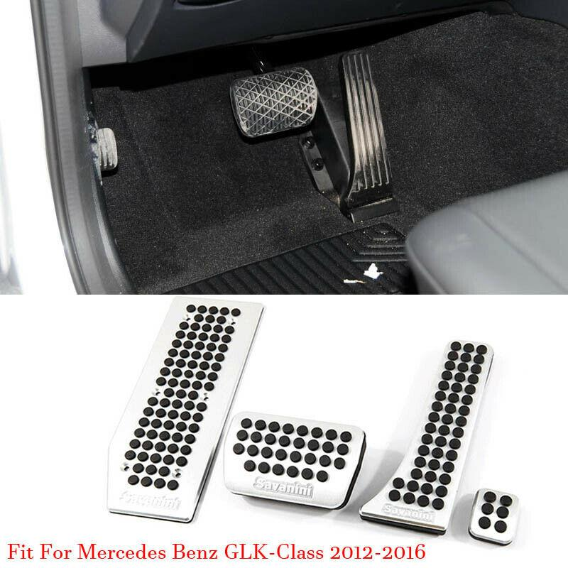 Car Alloy Accelerator Gas Brake Footrest Pedal Plate Pad Cover For Mercedes GLK350 2012-2016