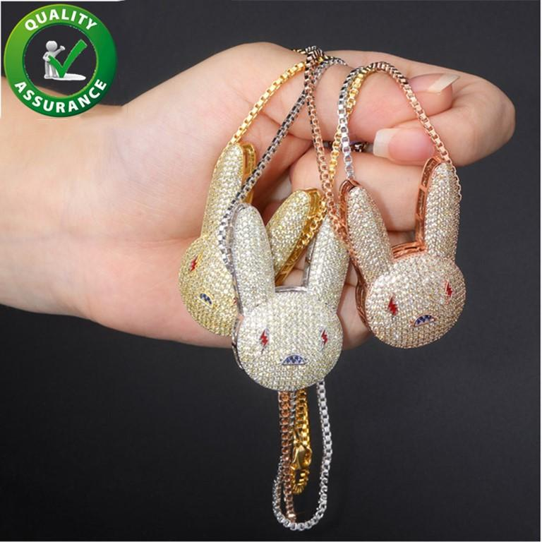 Hip Hop Bling Chains Jewelry Men Iced Out Pendant Luxury Designer Necklace Diamond Rabbit Fashion Animal Charms Gold Silver Pink Hiphop Accessories