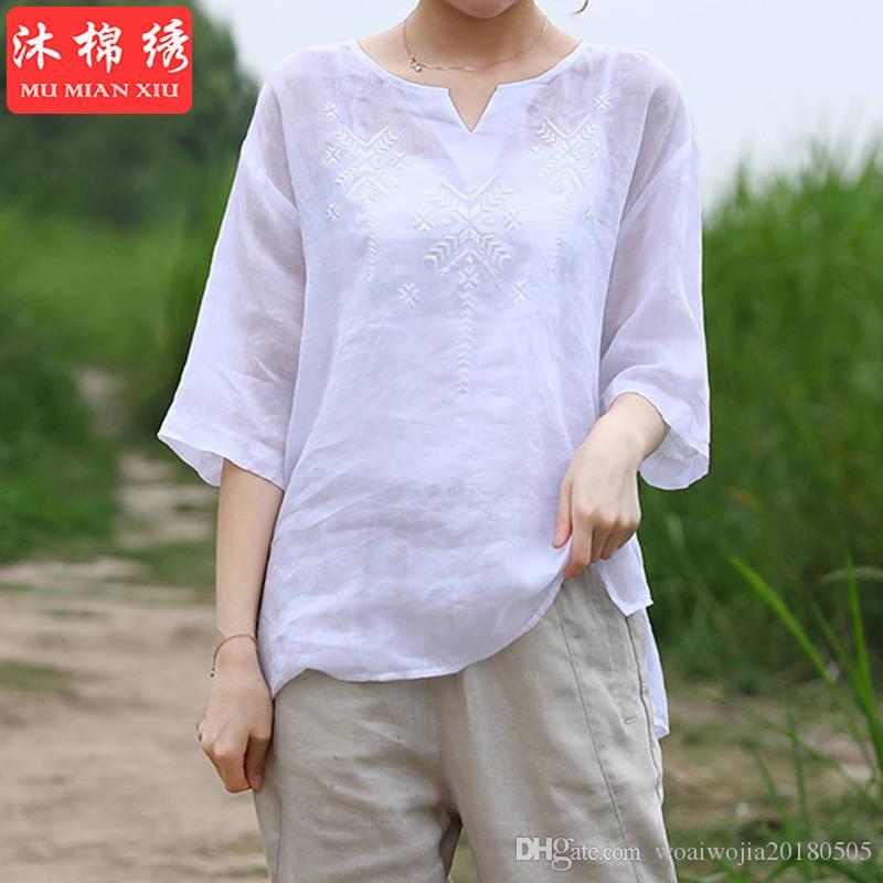 20190630 T-shirt con fondo scollo a V ricamata di grandi dimensioni in cotone da donna