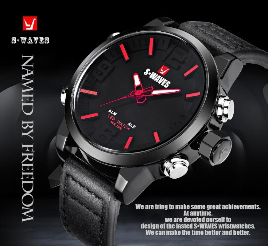 SWAVES relógios esportivos de couro Men Casual Assista Quartz Relógio Digital LED impermeável relógio de pulso SW2054P