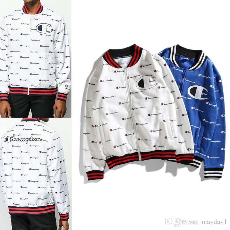 19FW Chaquetas para hombre Diseñador de moda LOGO Chaqueta de béisbol de manga larga Cremallera Hip Hop Abrigos para hombre Azul Blanco