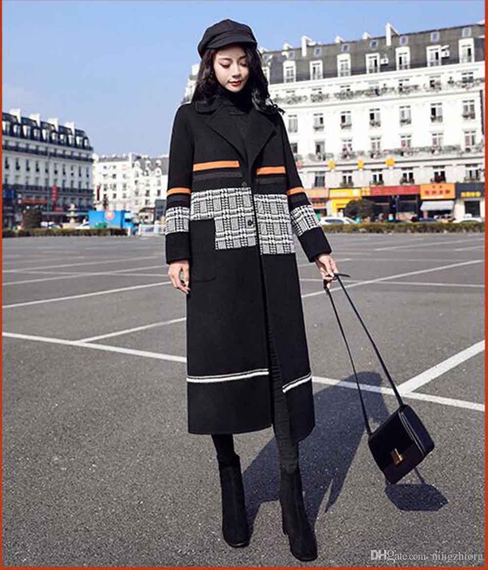 2019 yeni kadın sonbahar ve kış büyük boy uzun yünlü ceket kadın dikiş isabet renk houndstooth yün ceket diz örme
