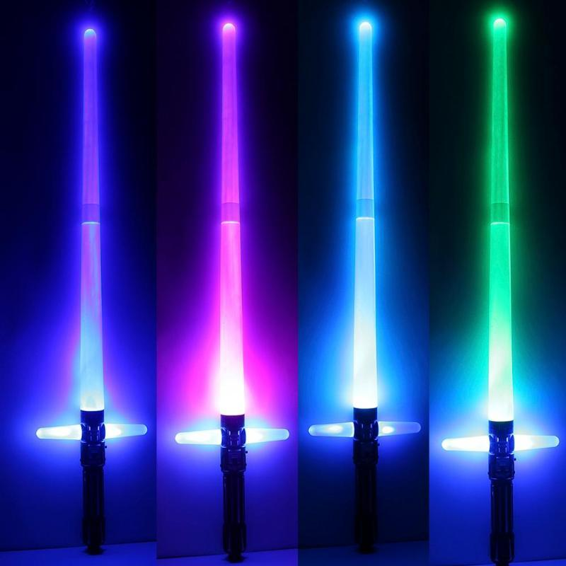 Hot sale Colorful Cross Telescopic Laser Sword Children Toys Sword Outdoor Lightsaber Cosplay Props seven color toggle weapon