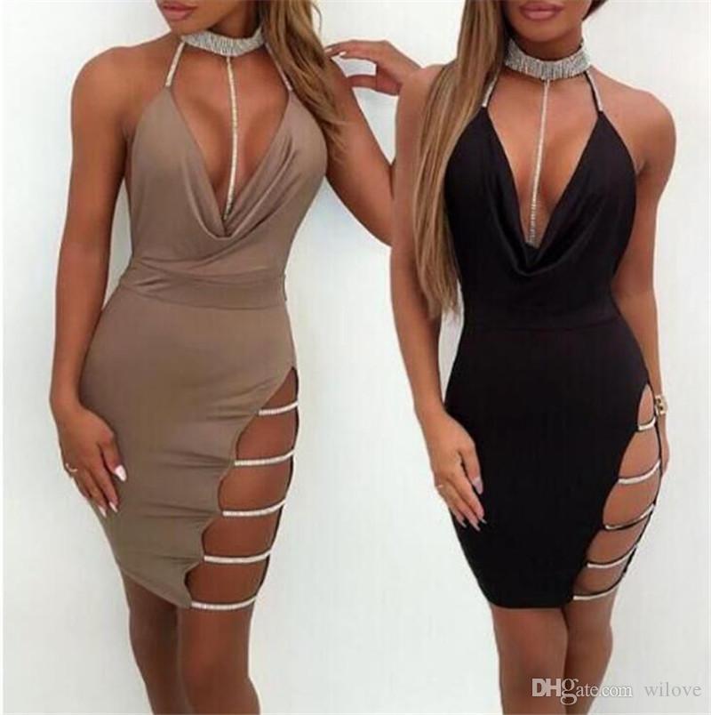 New Black Sexy Party Dress Women Summer Fashion Deep V Neck Halter Backless Choker Slit Sequin Bodycon Dresses Women Clothes