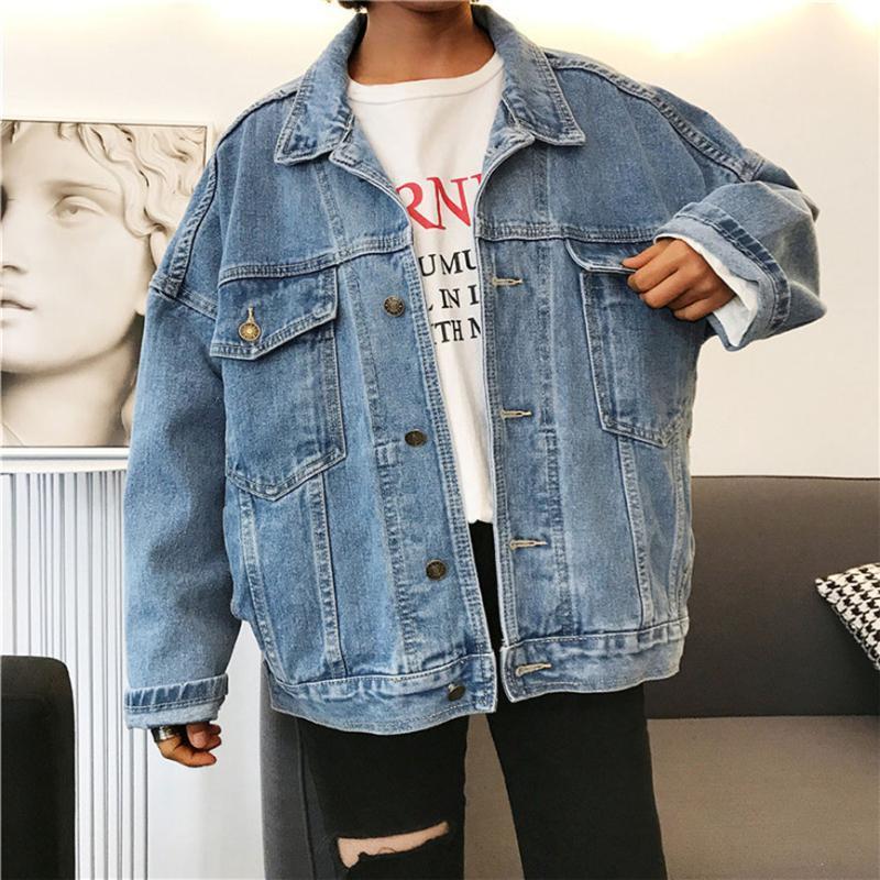 Oversize Denim Feminine Jacket Mulheres Namorado Estilo Jeans Brasão Retro Oversize Cowboy Denim solto jaqueta casual