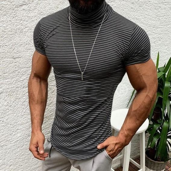 Erkek Çizgili Turtleneck Tshirts Yaz Şık Moda Sokak Tees Kısa Sleeve Erkek Giyim
