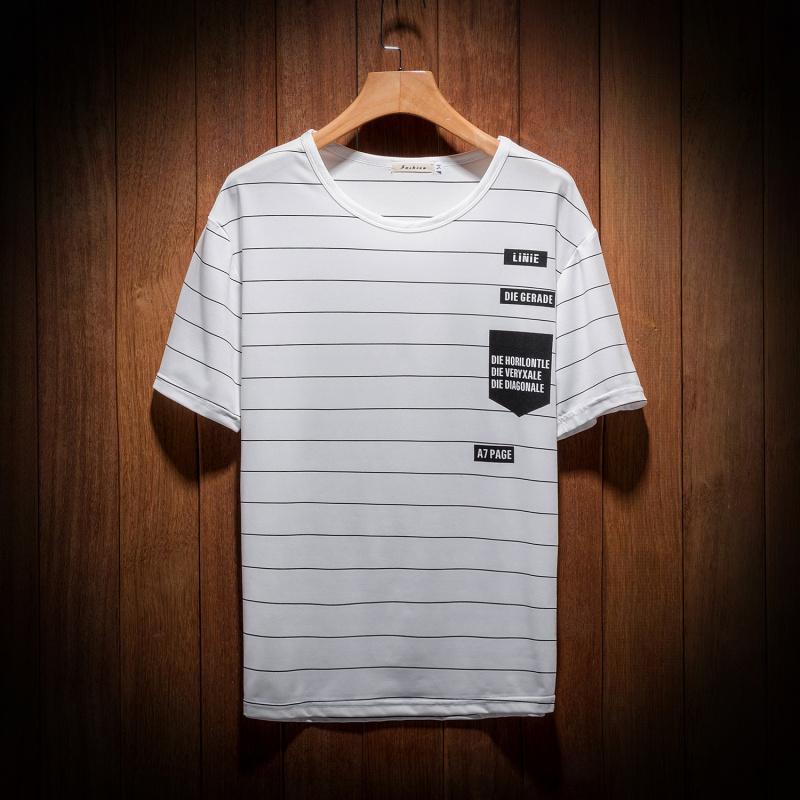 Sommer Pinstripe Grund lose beiläufige gestreifte Rundhals T-Shirt mit kurzen Ärmeln Bequeme Kurz Japan Stil Kleidung weiße Männer oben