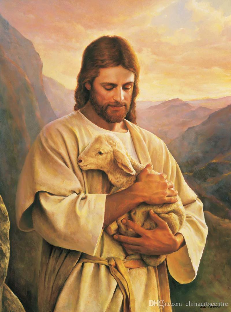 Catolicismo Jesus Cristo e Oil Art ovelhas de alta qualidade pintado à mão HD Imprimir Figura Retrato pintura em tela Home Office Decor VA 7