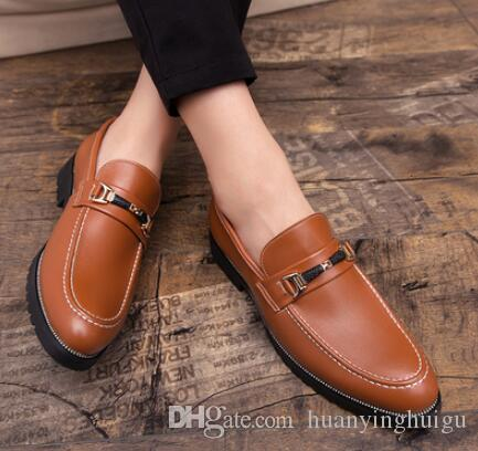 New Gold Oxford Shoes Italian Business Wedding Men Leather Formal Dress Flats Designer Moccasins Loafers Shoes 37-44