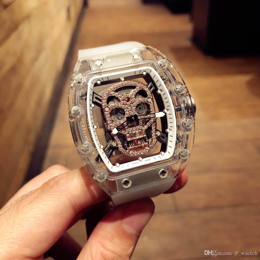 Moda gündelik lüks gündelik erkek saatleri çin paslanmaz çelik iskelet saatler kafatası mekanik yanlısı dalgıç çerçeveyi Dial