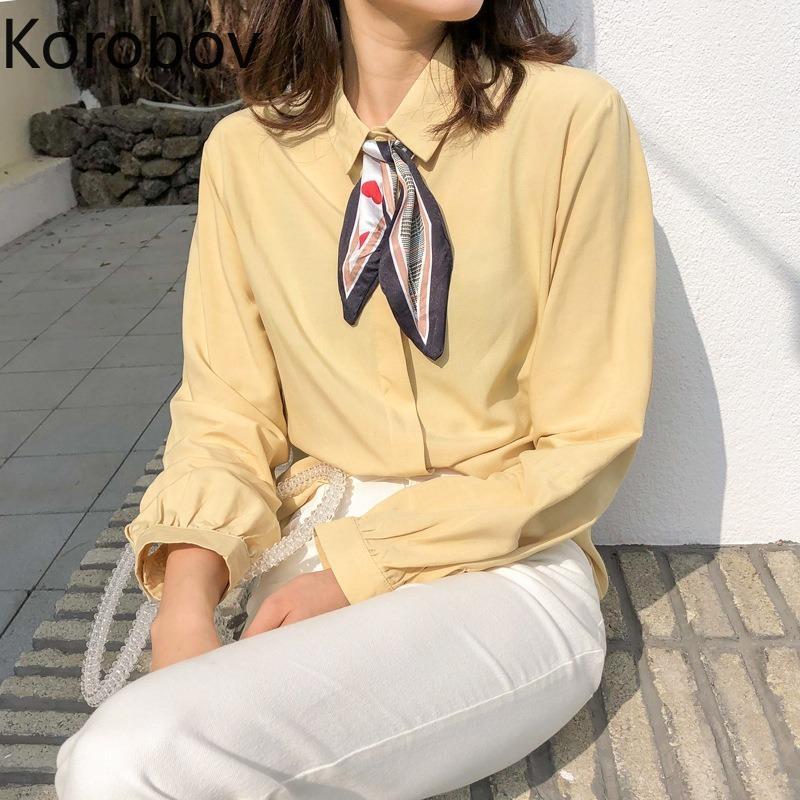 Korobov manga larga ocasional coreana arco Turn-Down cuello blusas de las mujeres de la vendimia solo pecho femenino elegantes camisas Blusas