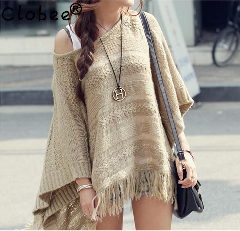 2020 Autumn Vintage Pullover Casual Hollow Irregular Tops Knitting Tassel Cloak Shawl Bat sleeve Smock Sweater poncho women