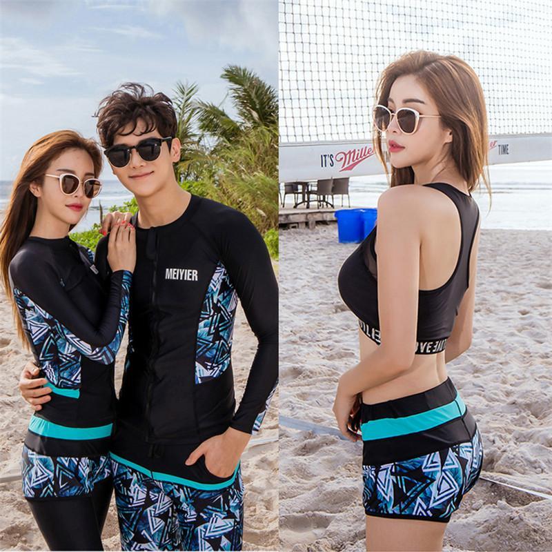 2019 maillot de bain coréenne pleine de mode pour les couples d'hommes mis de garde téméraires et les amateurs de femmes correspondant à des vêtements de surf à long costume de surf manches
