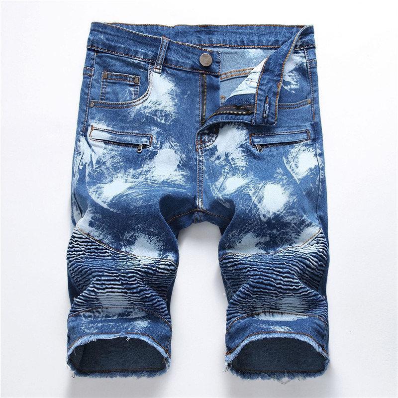 Hot Designer Mens Jean Shorts Buraco Drapeado Skinny Mens Legal Jean Shorts Moda Na Altura Do Joelho Mens Calças