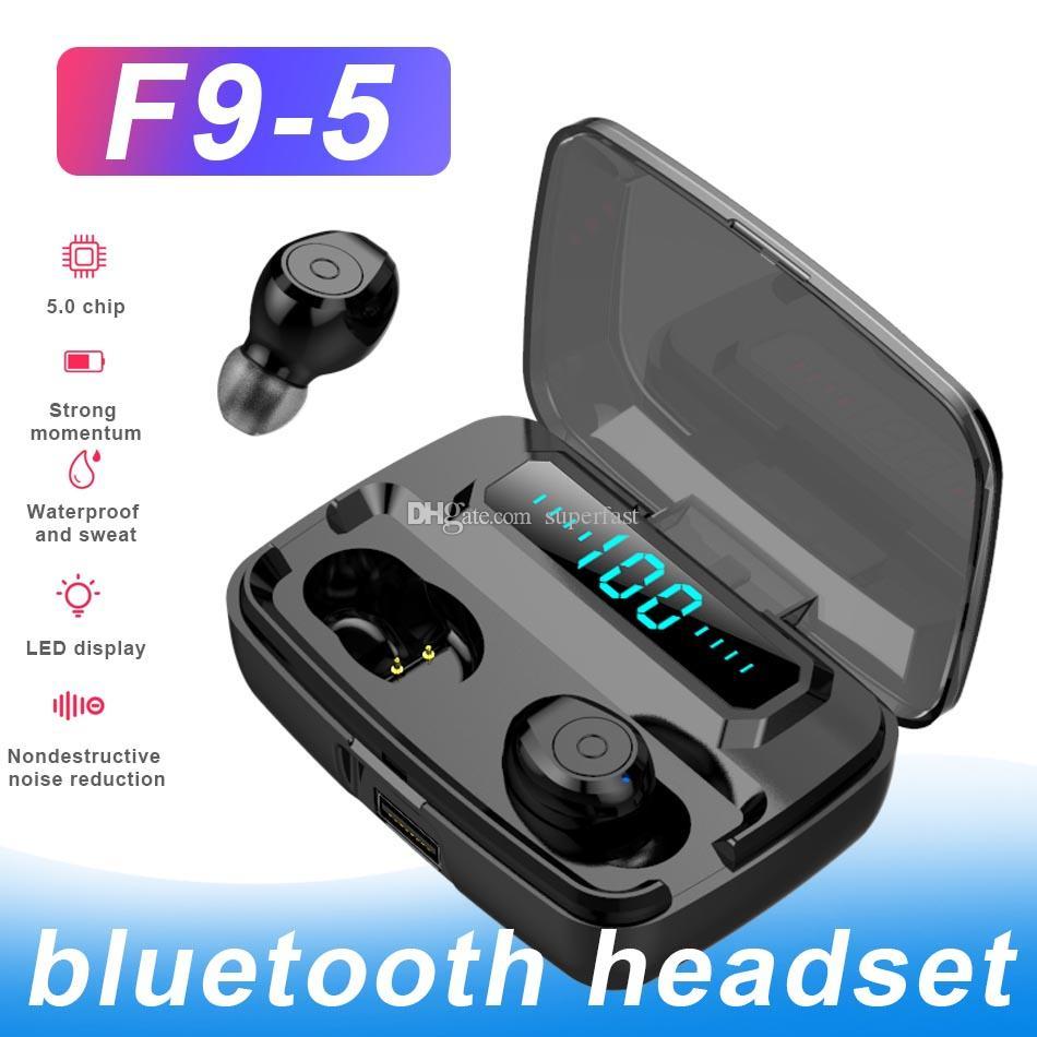 F9-5 TWS بلوتوث اللاسلكية سماعات الرأس 5.0 1200mAh بطارية البنوك والكهرباء وهيئة التصنيع العسكري مع شاشة LED الرقمية بكلتا الأذنين مع صندوق البيع بالتجزئة
