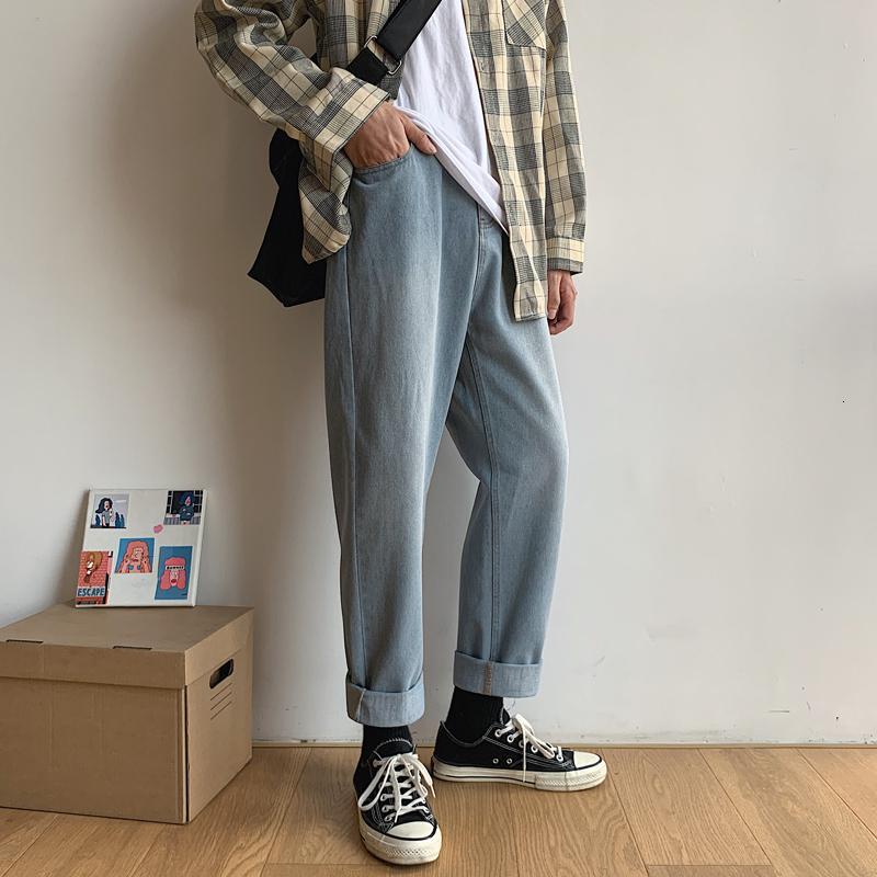 Jeans para hombre 2021 otoño e invierno guapo suelto suelto pierna de pierna de ancho juvenil personalidad de moda