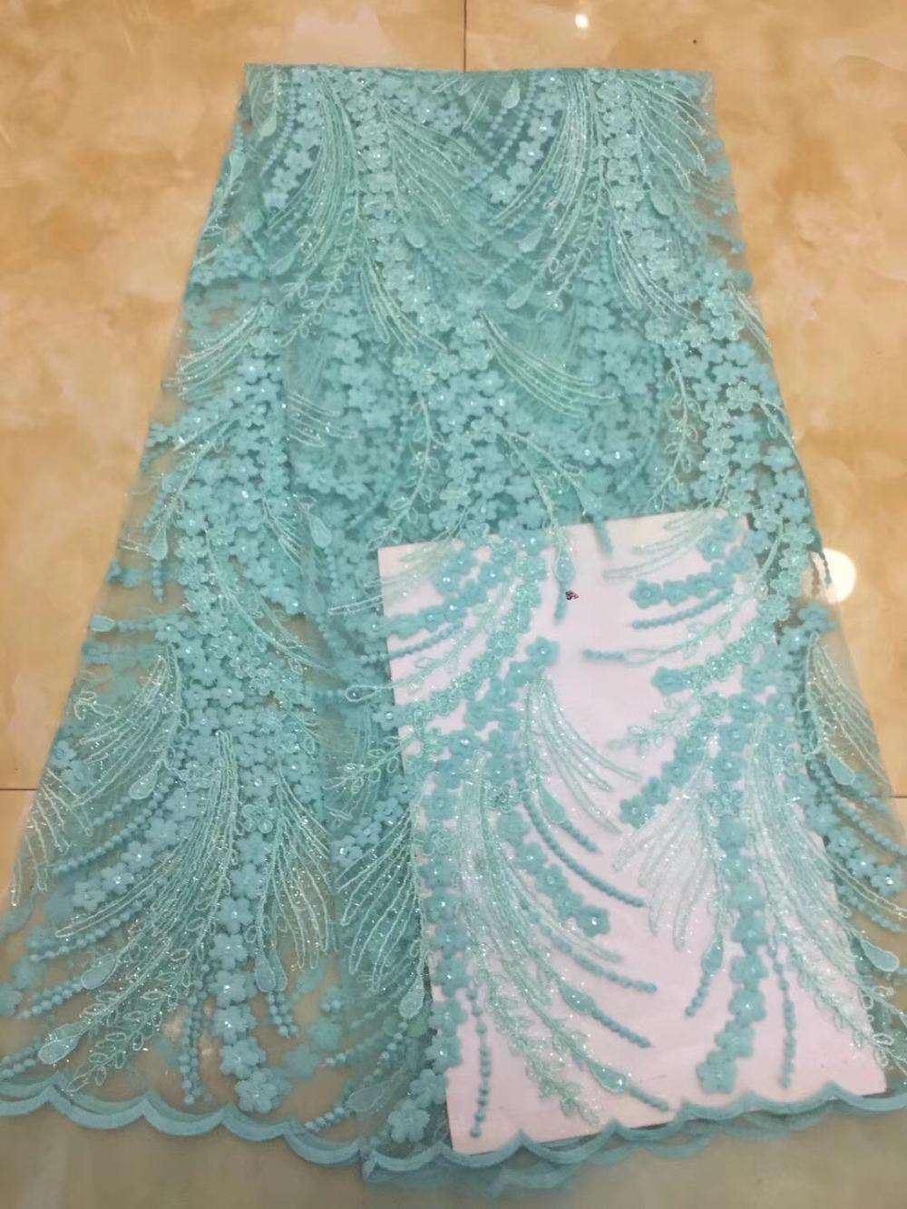 Tessuto di pizzo paillettes francese verde Teal, 5 yards Materiale africano del merletto di alta qualità per fare belle donne vestono!