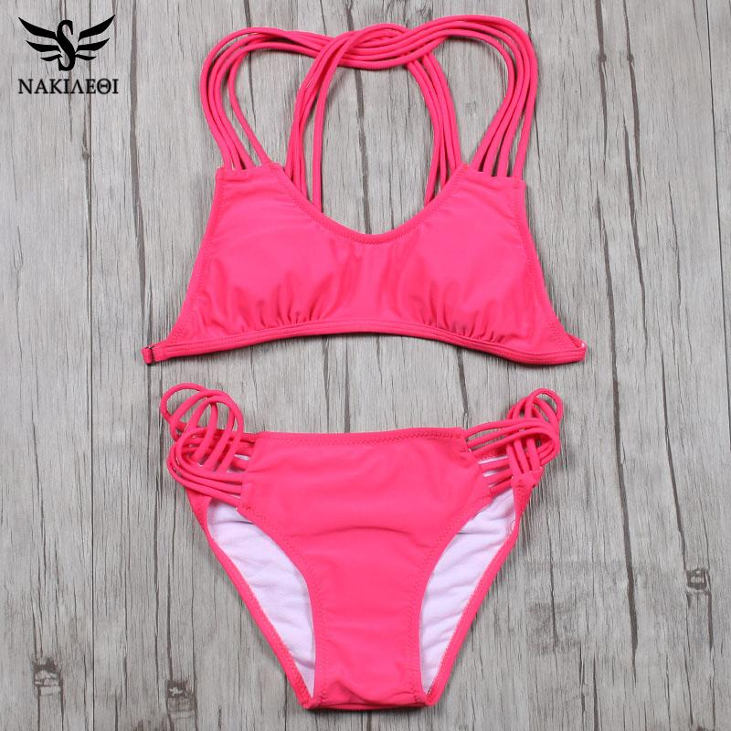 Women's Swimwear NAKIAEOI Sexy Bandage Bikini Push Up Women Summer Brazilian 2021 Solid Bandeau Swimsuit Bathing Suit Swim Wear