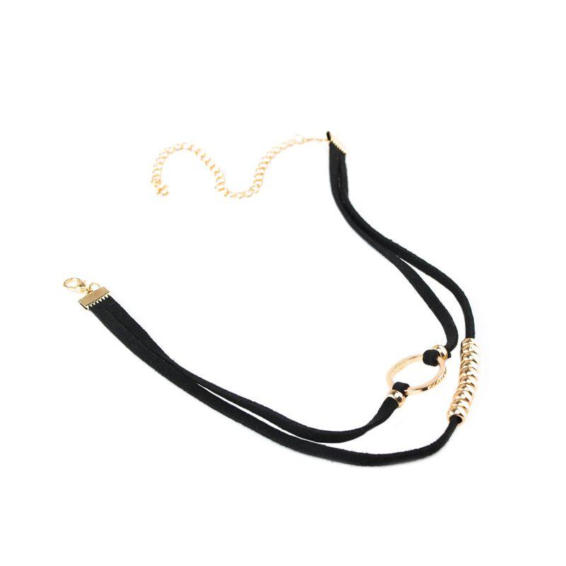 Fashion Double Layer Velvet Leather Boho O Ring Clavicle Choker Necklace