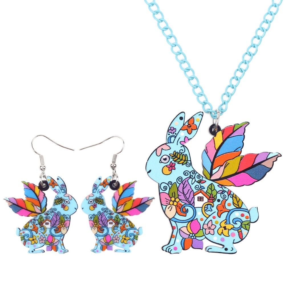 Bonsny Brand Jewelry Sets Acrylic ANGEL Rabbit Hares Necklace Earrings Choker Collar Fashion Jewelry News For Women Girl