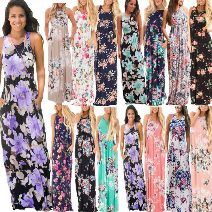 Women Floral Print Sleeveless Boho Dress Evening Gown Party Long Maxi Dress Summer Sundress Casual Dresses OOA3240