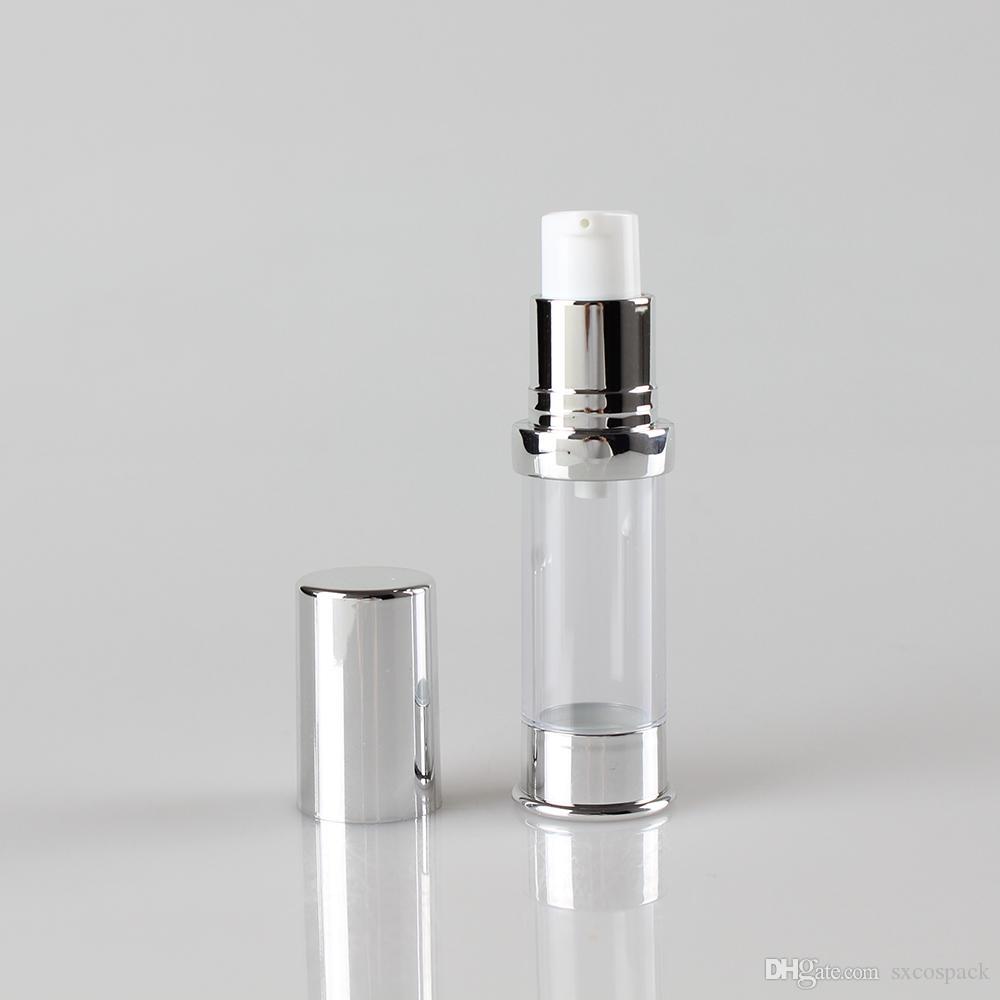 Şeffaf Vücut Gümüş Bottm 5 ml Plastik Flakon Havasız Şişe Pompası, Kozmetik Krem Havasız Şişe Pompası 100 adet