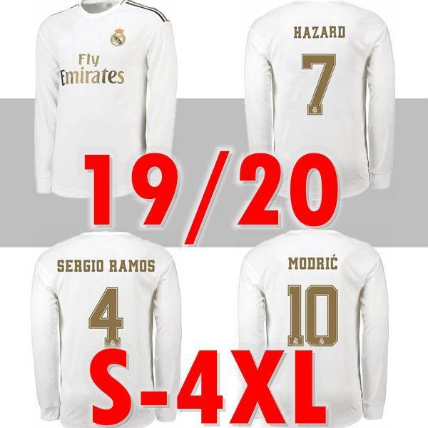 새로운 3XL 4XL 19 20 레알 마드리드 위험 MODRIC KROOS 홈 긴 소매 축구 유니폼 SERGIO RAMOS BENZEMA 축구 셔츠 ISCO MARIANO 유니폼