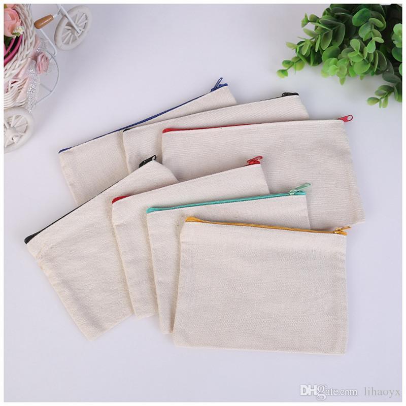 Zíper de lona em branco Casos de caneta sacos de algodão sacos de cosméticos sacos de maquiagem organizador do saco de embreagem do telefone móvel dc792