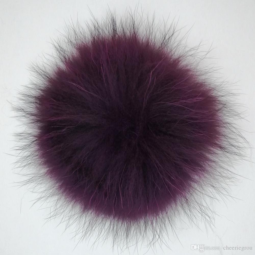 Portachiavi all'ingrosso 15 cm palla soffice vera pelliccia di procione palla Pom Poms rotonda carino pompon per cappello a cuffia