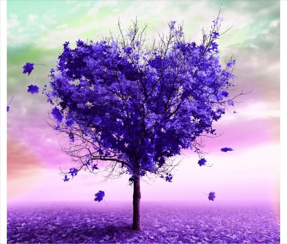 Custom 3d foto mural wallpaper decoración del hogar púrpura en forma de corazón árbol vacío desierto TV sofá fondo pared papel de parede