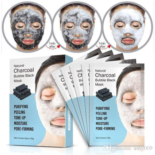 DHL 10boxs Natural Detox Oxygen Charcoal Bubble Black Sheet Mask Oil Control Face Mask Blackhead Removal Facial Mask Korean Skin Care