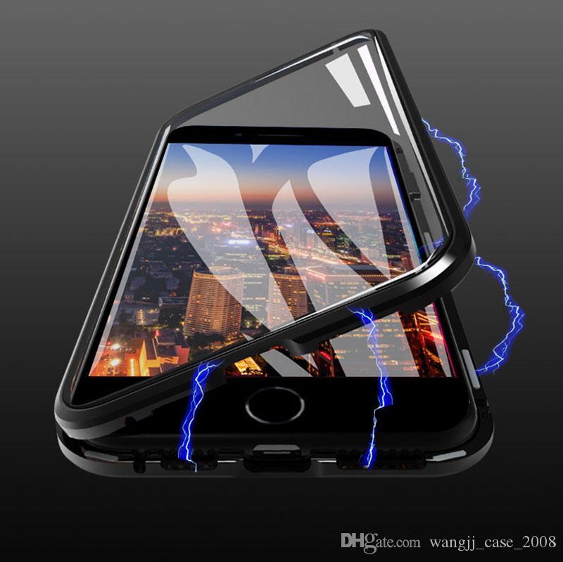 Estuche del teléfono magnético para iPhone12 11Pro 7 8 Plus x XR para Samsung S20 Case Magnet Transparente Anti-Peeped Templed Class Protection
