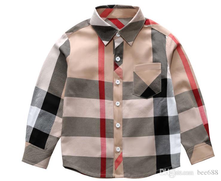 3T-8T تجارة الجملة والتجزئة حار بيع الأزياء الصبي ملابس ربيع جديد طويل كم كبير منقوشة شيرت ماركة نمط التلبيب بوي قميص