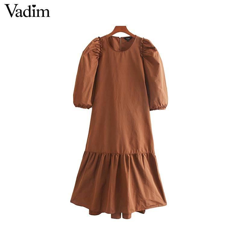 Vadim mujeres elegantes sólidas midi vestido de tres cuartos de la manga de soplo casual para mujeres retro mediados de la pantorrilla vestidos rectos vestidos QC826 T200403