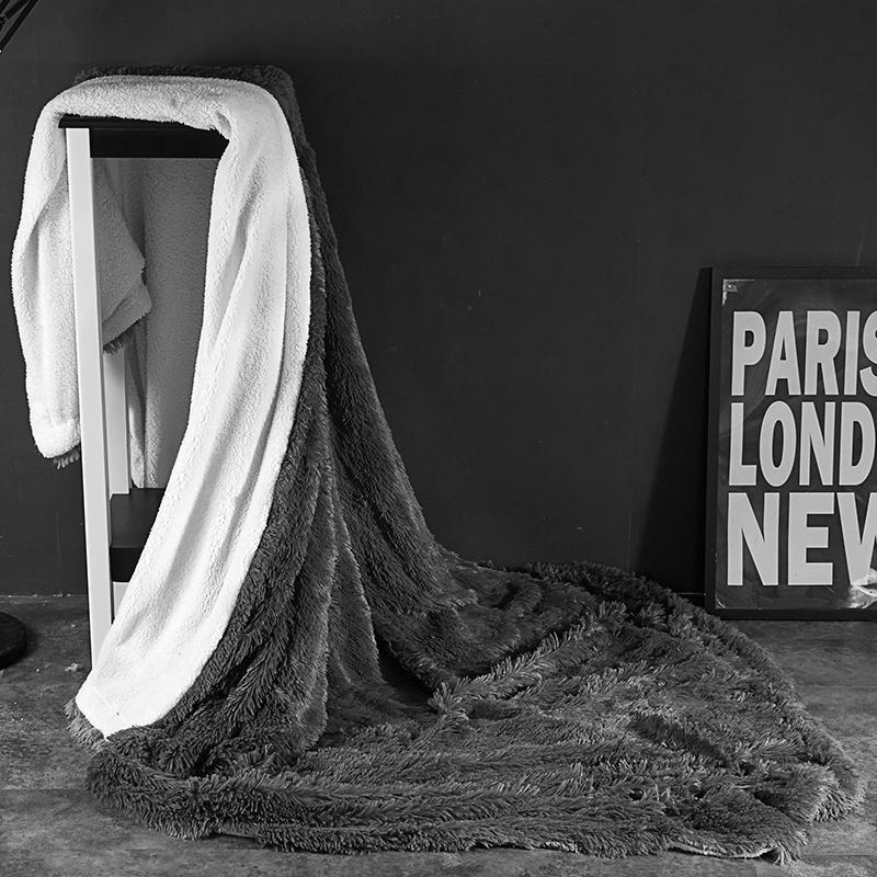 Felpa suave manta lanuda completa reina rey tamaño cama adultos para niños juego de tapas de terciopelo Hoja de cama colcha gris Color Blanco