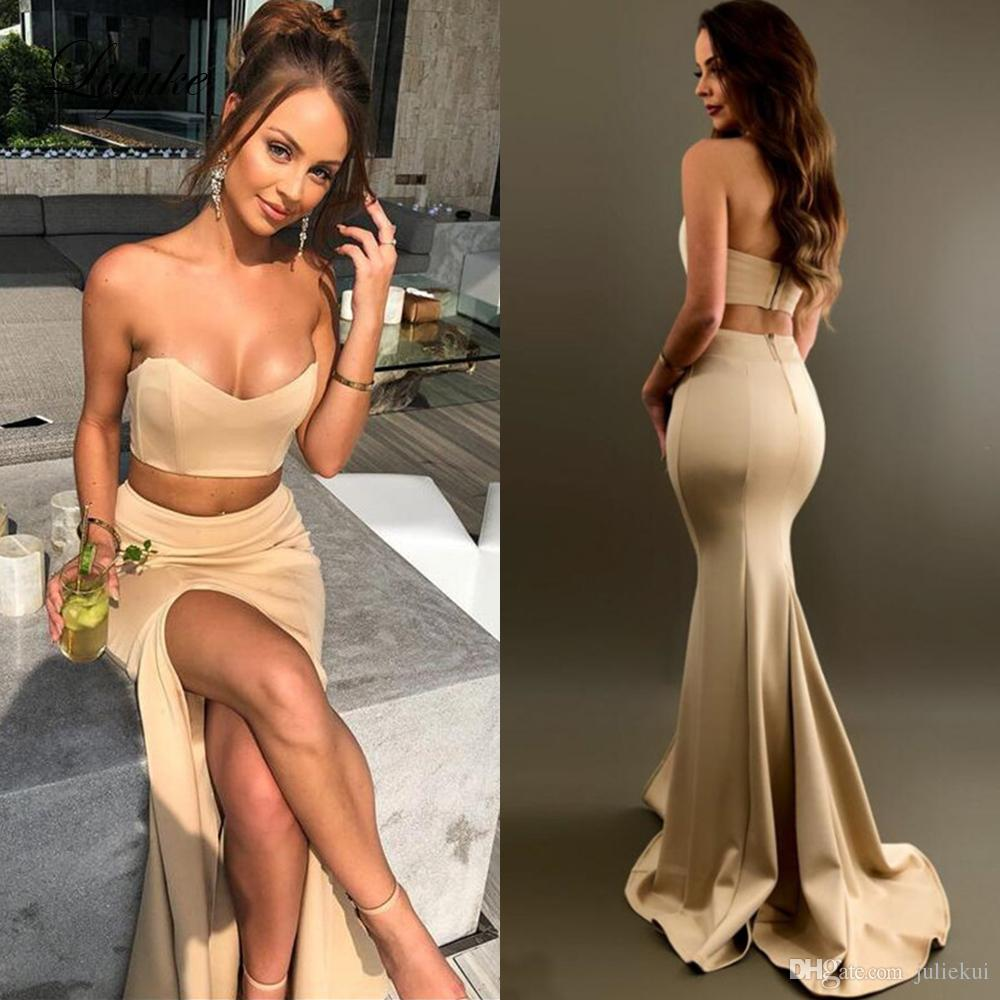 Liyuke Sevgiliye Mermaid Abiye Kolsuz Backless İki Adet Elbise Sweep Tren Custom Made Örgün Abiye giyim Balo Parti Giymek