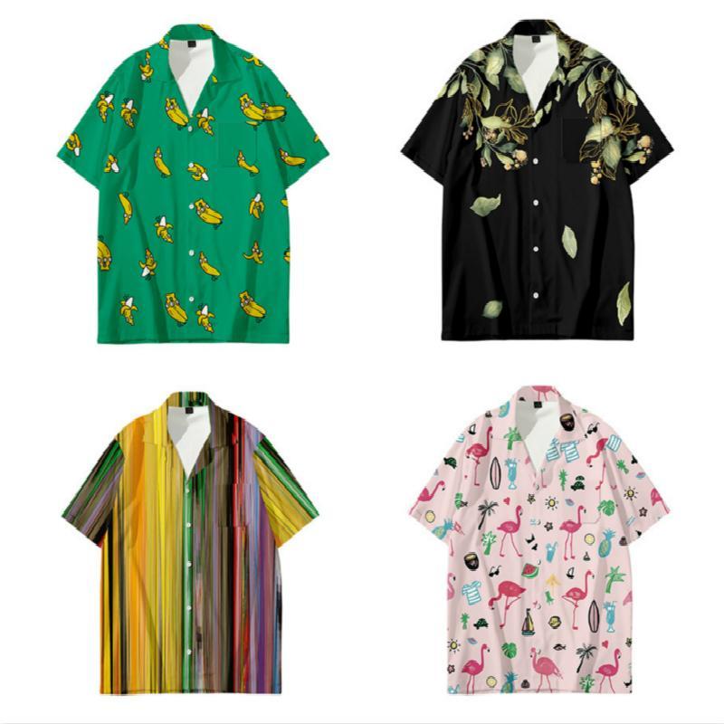 Мужские повседневные рубашки Гавайско-Бич Топ с короткими рукавными Рубашками Рубашка Мужчины Свободные Плюс Размер Хип-Хоп Банановый Шортси