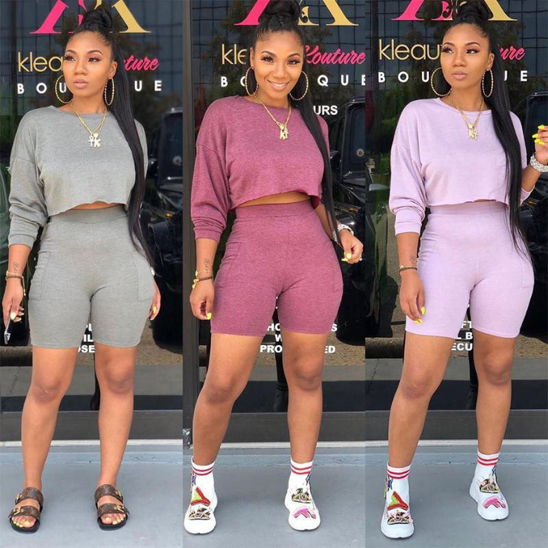 HAOYUAN Women Two Piece Outfits Tracksuit Long Sleeve Crop Top and Biker Shorts Sweat Suits Fall Clothes 2 Piece Matching Sets