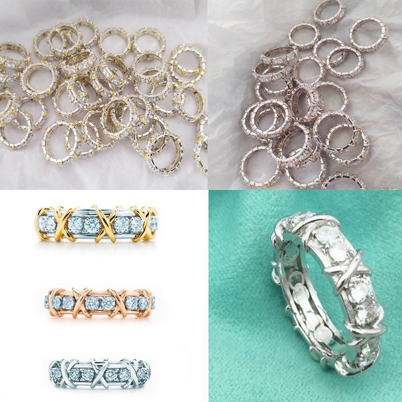 Logo Luxury Jewelry S925 anéis de prata esterlina dedo para o casamento Mulheres Cruz anéis de diamante Designer estilo TF clássico Rosegold Anéis Banda