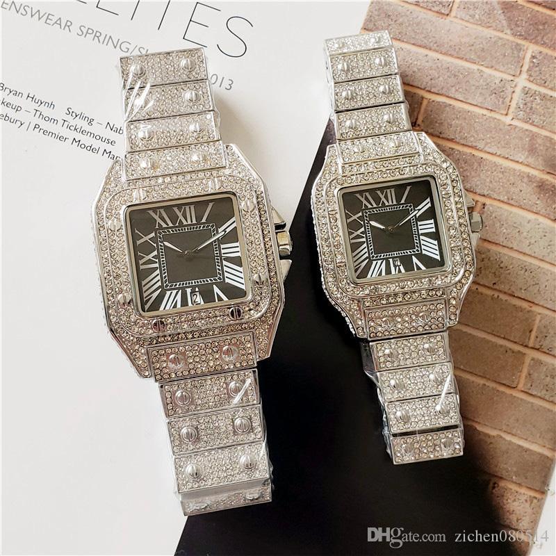 Gute Qualitätsart- und weisemarken-Uhren des Kristallquadratartvorwahlknopf-Stahlband Quarz-Datums-Armbanduhr CA22 der schönen Frauen der Männer