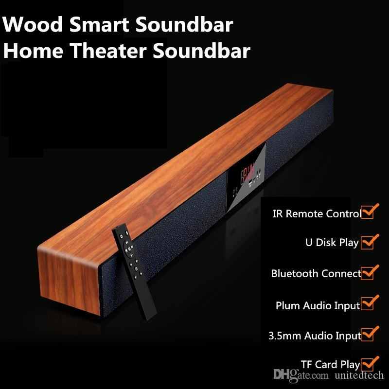 Luxury Home Theater Soundbar Speaker wooden Bluetooth Surround Sealed Wood Smart Soundbar Speaker for home TV movie Support MP3 Player