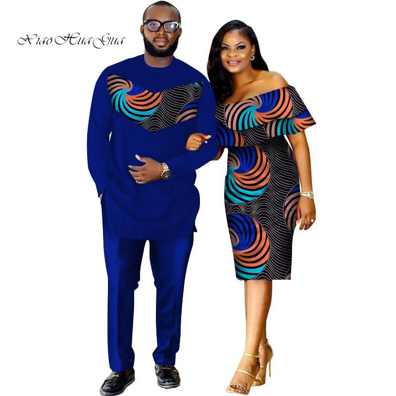 Conjunto de duas peças Dashiki africano impressão casal roupas para amantes dos homens terno mais mulheres plissado manga Bodycon vestido 6XL WYQ62