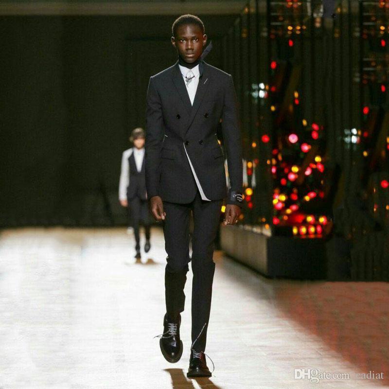 Black Men мода костюмов для выпускного вечера венчания партии жениха смокинг Groomsmen наряды Best Man наряды Классического Terno костюм Homme Мужчина для 2piece