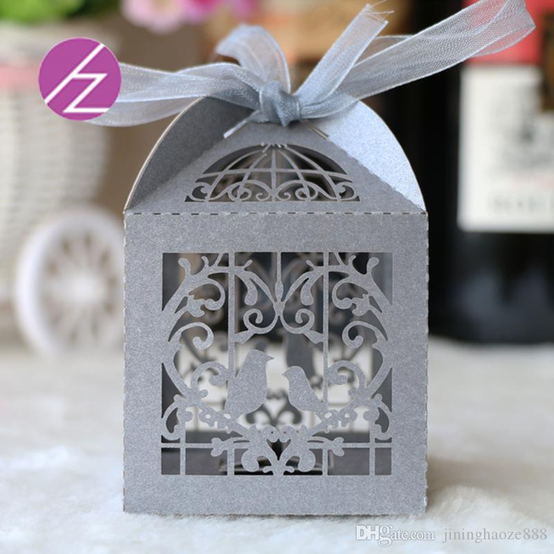 100 PCS /lot Exquisite Favor Holders With Ribbon Candy Boxes Wedding Invitations Personal Custom Chocolate Boxes Snack Box