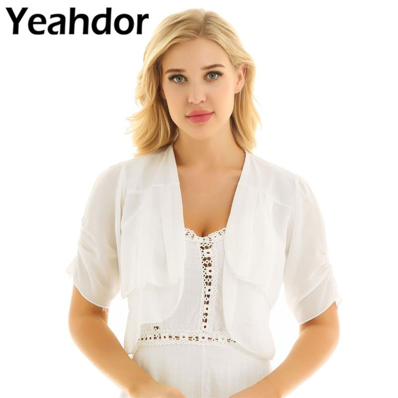 Women Short Sleeve Sheer Open Front Chiffon Bolero Shrug Cardigan Top Coat USPS