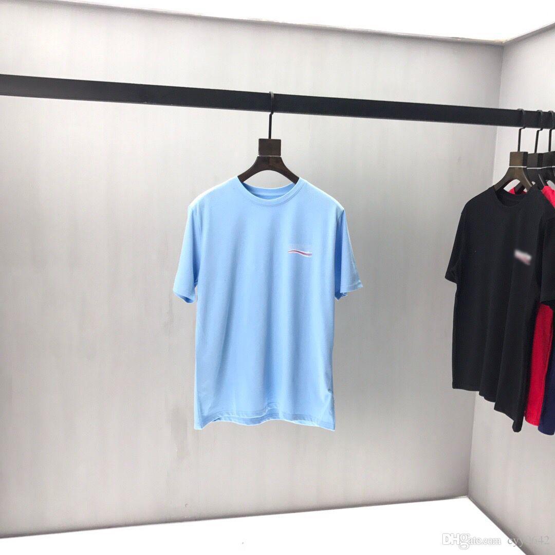 2020ss весна и лето новый высококачественный хлопок печать с коротким рукавом круглый вырез панели футболка размер: m-l-xl-xxl-xxxl цвет: черный белый qq57