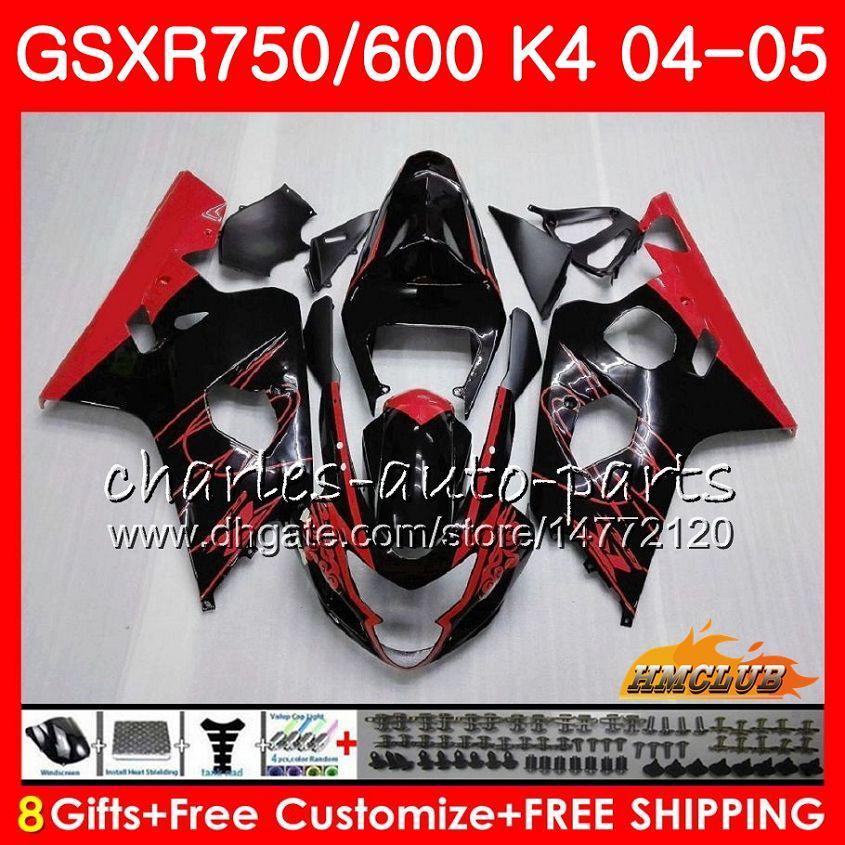 venta de carrocería candente para Suzuki 750 GSX R750 GSXR600 GSXR600 04 05 7HC.48 GSXR750 GSXR 600 04 05 2004 2005 K4 GSXR750 carenado kit