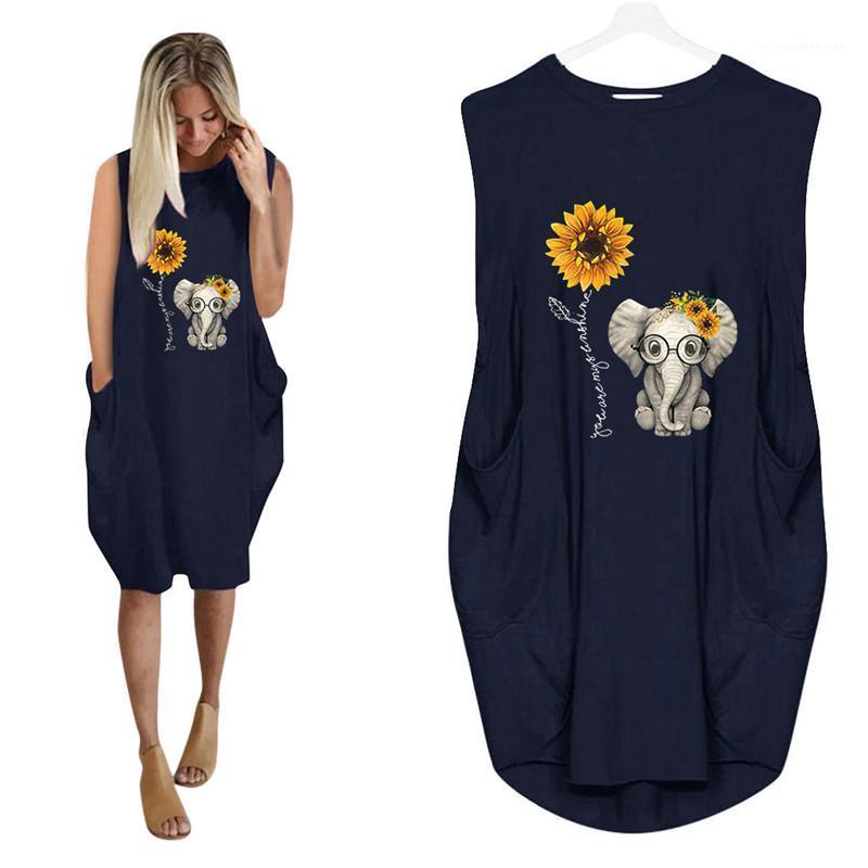 La camisa de vestir vestidos de la moda del cuello de equipo de costura impresos vestido sin mangas de hembras diseñador ocasional camisa floja de verano